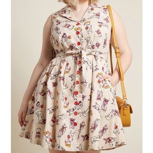 NWOT MODCLOTH Community Brunch Shirt Dress Corgis